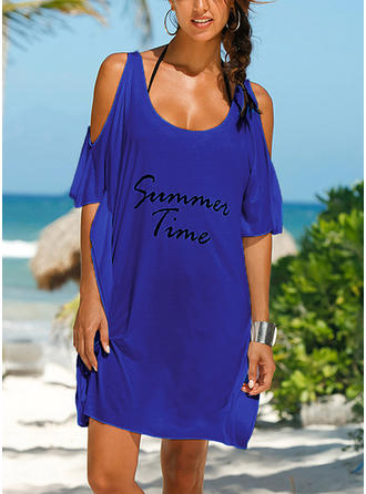Solid Color Round Neck Cute Cover-ups Swimsuits