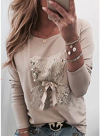 Sequins Round Neck Long Sleeves Casual Knit Blouses