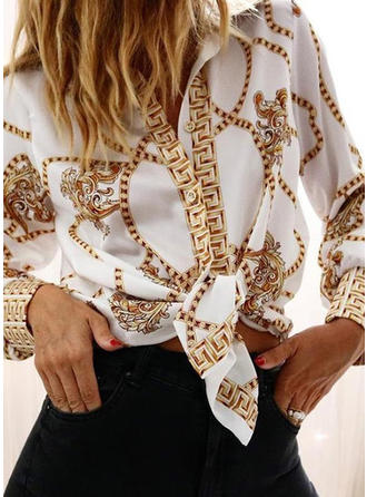 Print Lapel Long Sleeves Button Up Blouses