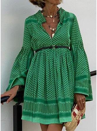 Print Long Sleeves/Flare Sleeves A-line Above Knee Casual/Elegant Dresses