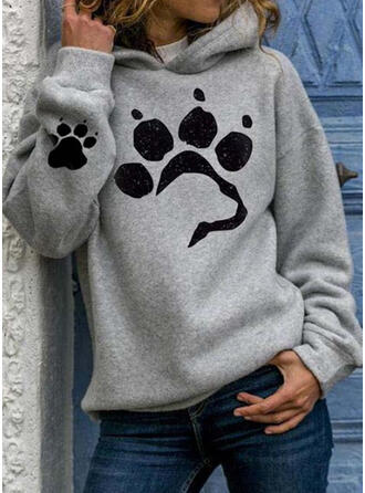 Estampado Animal Sudadera Con Capucha Manga Larga Casual Blusas