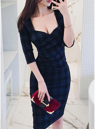 Plaid 1/2 Sleeves Sheath Knee Length Casual/Elegant Dresses
