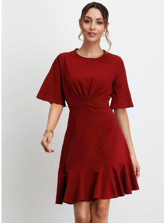 Solid 1/2 Sleeves/Flare Sleeves A-line Above Knee Party Dresses