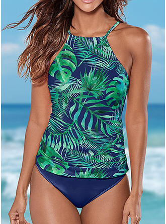 Floral Print Halter Plus Size Boho Tankinis Swimsuits