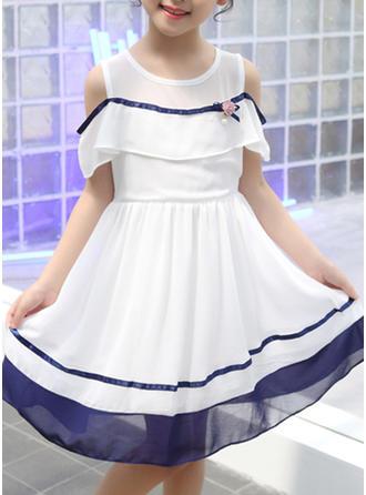 Dziewczyny Zimne ramię Niejednolita całość Nieformalny Ładny Sukienka