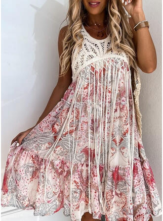 Print Sleeveless A-line Above Knee Casual/Boho/Vacation Skater Dresses