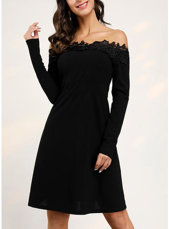 Lace/Solid Long Sleeves A-line Knee Length Little Black/Casual/Elegant Dresses
