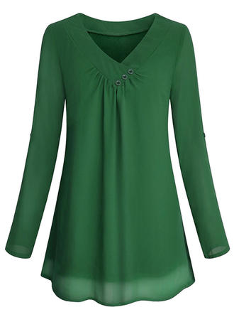 Chiffon V Neck Plain Long Sleeves Casual Blouses