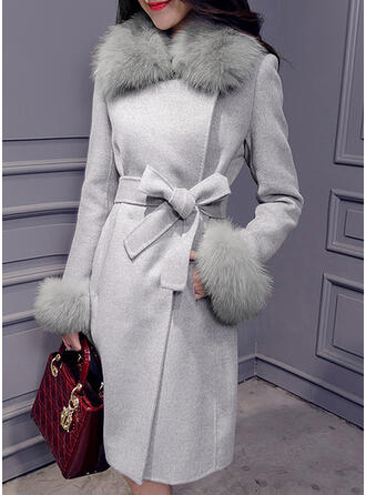 Woolen Long Sleeves Plain Woolen Coats