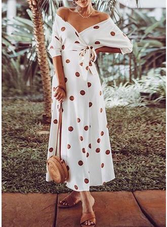PolkaDot 3/4 Sleeves A-line Casual/Vacation Maxi Dresses