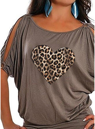 Print Leopard Round Neck 1/2 Sleeves Casual Plus Size Blouses