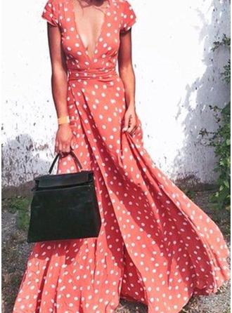 PolkaDot V-neck Maxi A-line Dress