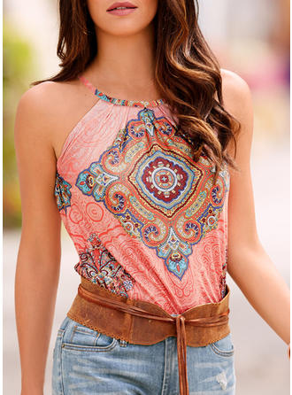 Print Round Neck Sleeveless Casual Sexy Blouses