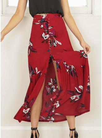 Polyester Inmprimé Floral Maxi Jupes fendues Jupes plissées Jupes trapèze