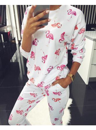Round Neck Long Sleeves Floral Sexy Top & Pants Sets