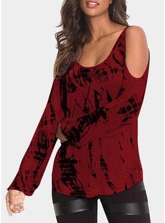 Print Cold Shoulder Long Sleeves Casual Elegant Knit Blouses