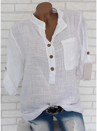 Cotton Linen Lapel Plain Long Sleeves Shirt Blouses