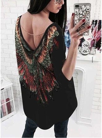 Print 3/4 Sleeves Shift Above Knee Sexy/Casual Dresses