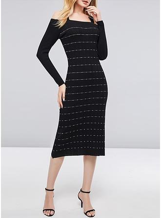 Striped Strap Midi Sheath Dress