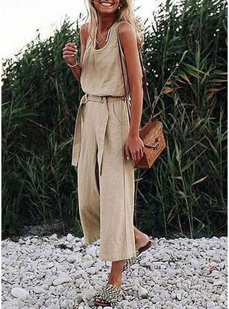 Solid V-Neck Sleeveless Vacation Jumpsuit