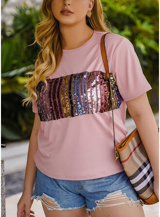 Patchwork Sequins Round Neck Short Sleeves Plus Size T-shirts