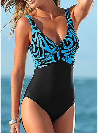Splice color V-Neck Bohemian Plus Size One-piece Swimsuits