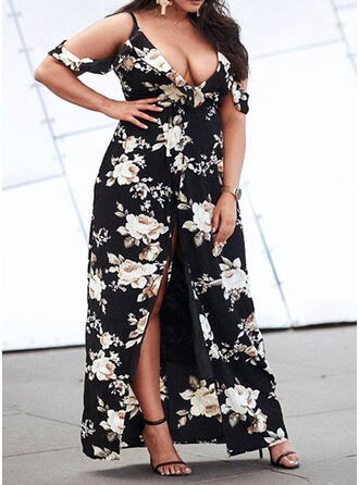 Plus Size Floral Print Cold Shoulder Sleeve Short Sleeves A-line Maxi Casual Vacation Dress