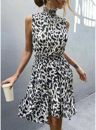 Nadruk zwierzęcy Bez rękawów W kształcie litery A Nad kolana Casual/Wakacyjna Sukienki