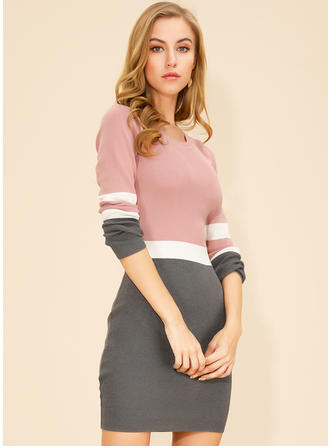 Color Block Long Sleeves Bodycon Above Knee Casual Dresses