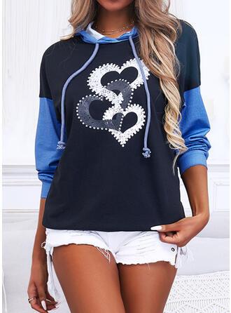 Imprimé Bloc de Couleur Cœur Manches Longues Sweat-shirt
