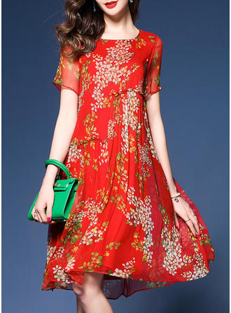 Silk With Stitching/Print Knee Length Dress