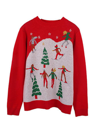 Faux Fur Round Neck Print Ugly Christmas Sweater