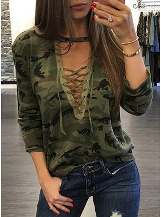 Print V-Neck Long Sleeves Casual Sexy T-shirts