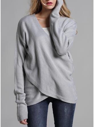 Akryl V-neck Jednolity kolor Swetry