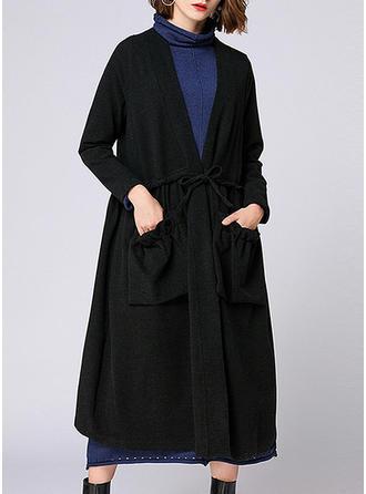 Spandex Long Sleeves Plain Trench Coats