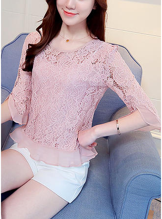 Lace Round Neck Plain 1/2 Sleeves Casual Blouses