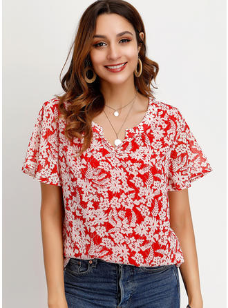 Print V Neck Short Sleeves Casual Elegant Blouses