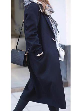 Poliester Długie rękawy Jednolity kolor Wełna Płaszcze
