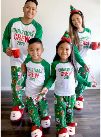 Santa Color-block Letter Family Matching Christmas Pajamas
