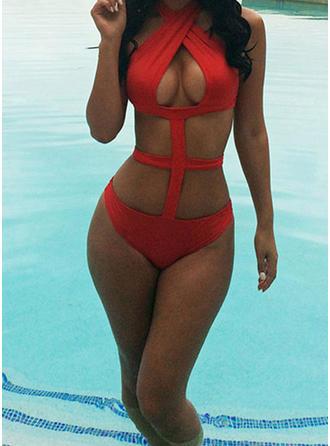 Jednobarevná Kulatý krk Sexy Jednodílné Plavky