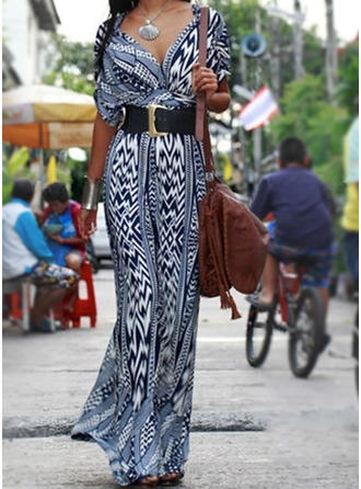 Print Short Sleeves Sheath Maxi Boho/Vacation Dresses