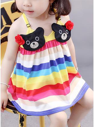Girls Spaghetti Strap Striped Animal Casual Cute Dress
