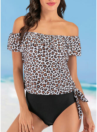 Leopard Strapless Sexy Tankinis Swimsuits