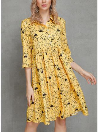 印刷/フローラル 1/2袖 シフトドレス 膝丈 カジュアル/ボーホー/休暇 ドレス
