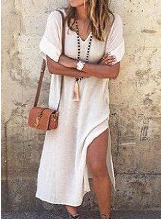 Solid 1/2 Sleeves Shift Midi Casual Dresses