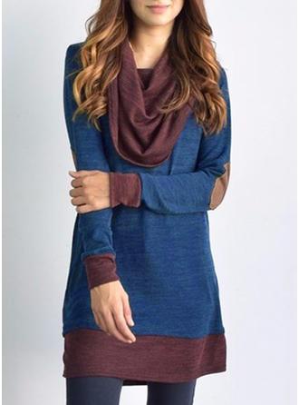 Bawełna Golf Patchworkowa Sukienka sweterkowa