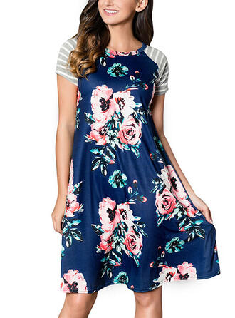 Print/Floral/Striped Short Sleeves Shift Knee Length Casual Dresses