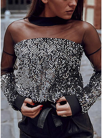 Sequins Round Neck Long Sleeves Casual Elegant Sexy Blouses