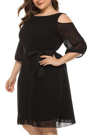 Solid 3/4 Sleeves/Cold Shoulder Sleeve A-line Knee Length Little Black/Casual/Elegant/Plus Size Dresses