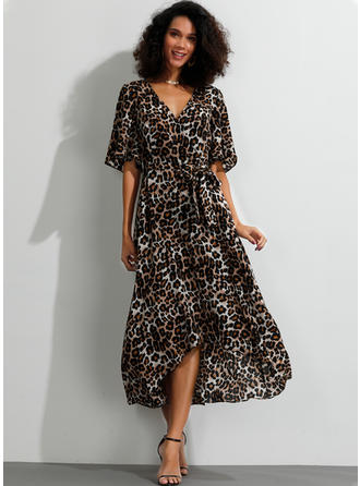 Animal Print 1/2 Sleeves A-line Asymmetrical Casual Dresses